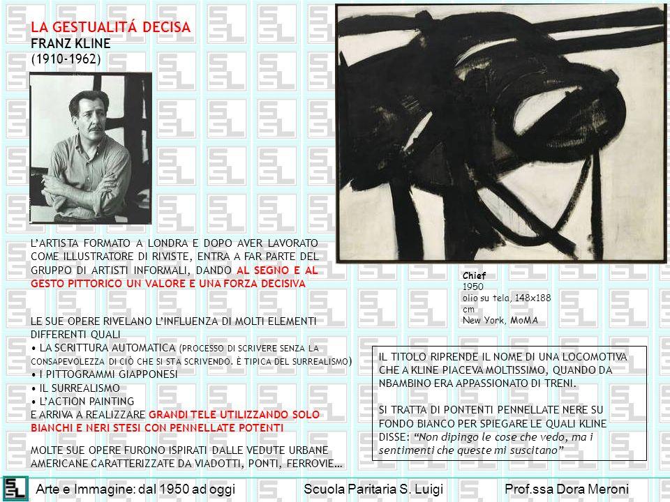 Arte e Immagine: dal 1950 ad oggiScuola Paritaria S. LuigiProf.ssa Dora Meroni LA GESTUALITÁ DECISA FRANZ KLINE (1910-1962) LARTISTA FORMATO A LONDRA