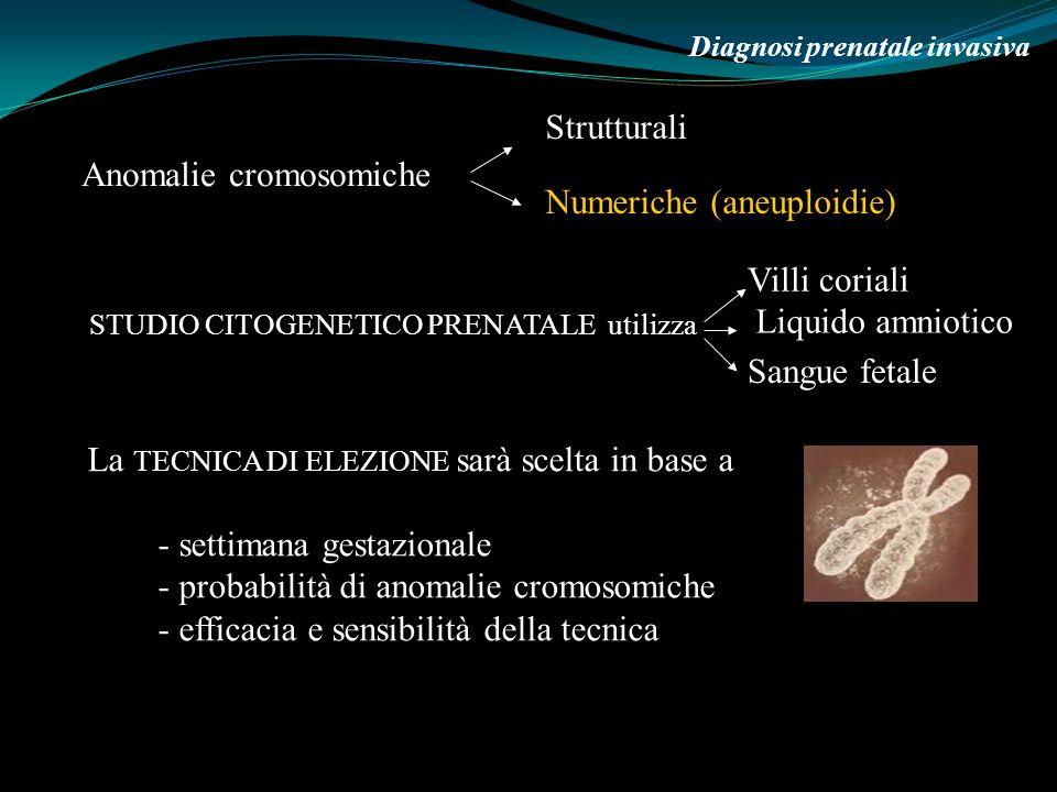 6 Marzo 2009 Diagnosi prenatale invasiva STUDIO CITOGENETICO PRENATALE utilizza Anomalie cromosomiche Strutturali Numeriche (aneuploidie) Villi corial