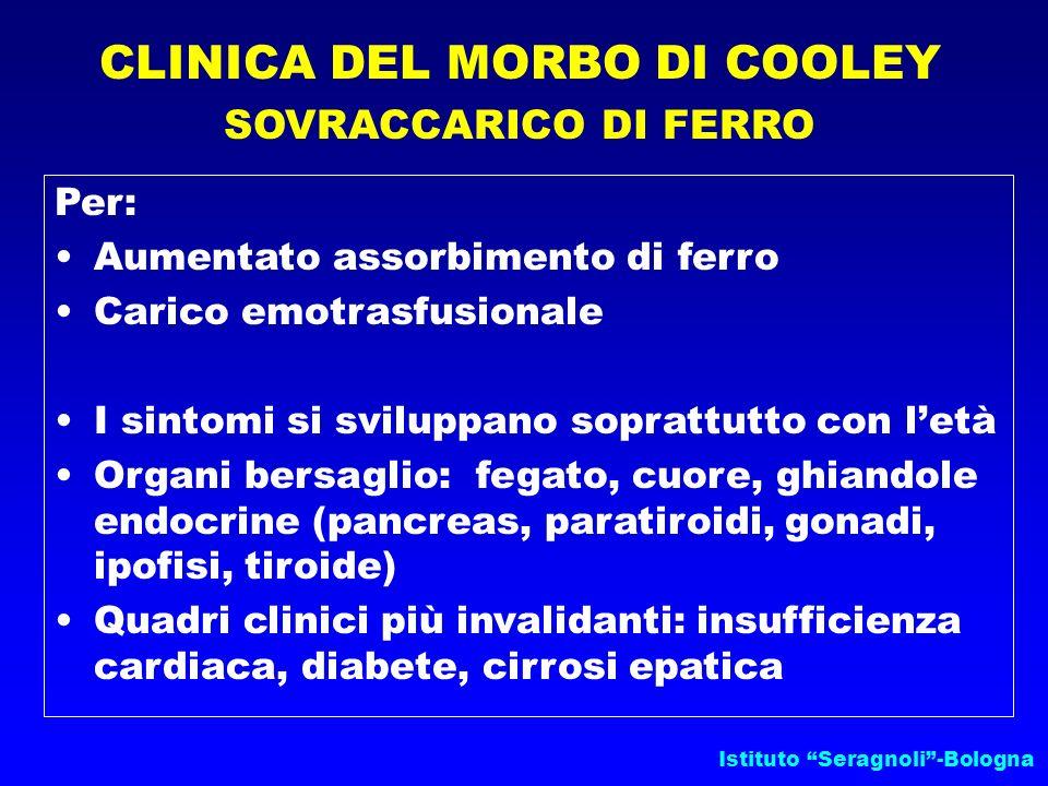 Istituto Seragnoli-Bologna CLINICA DEL MORBO DI COOLEY SOVRACCARICO DI FERRO Per: Aumentato assorbimento di ferro Carico emotrasfusionale I sintomi si