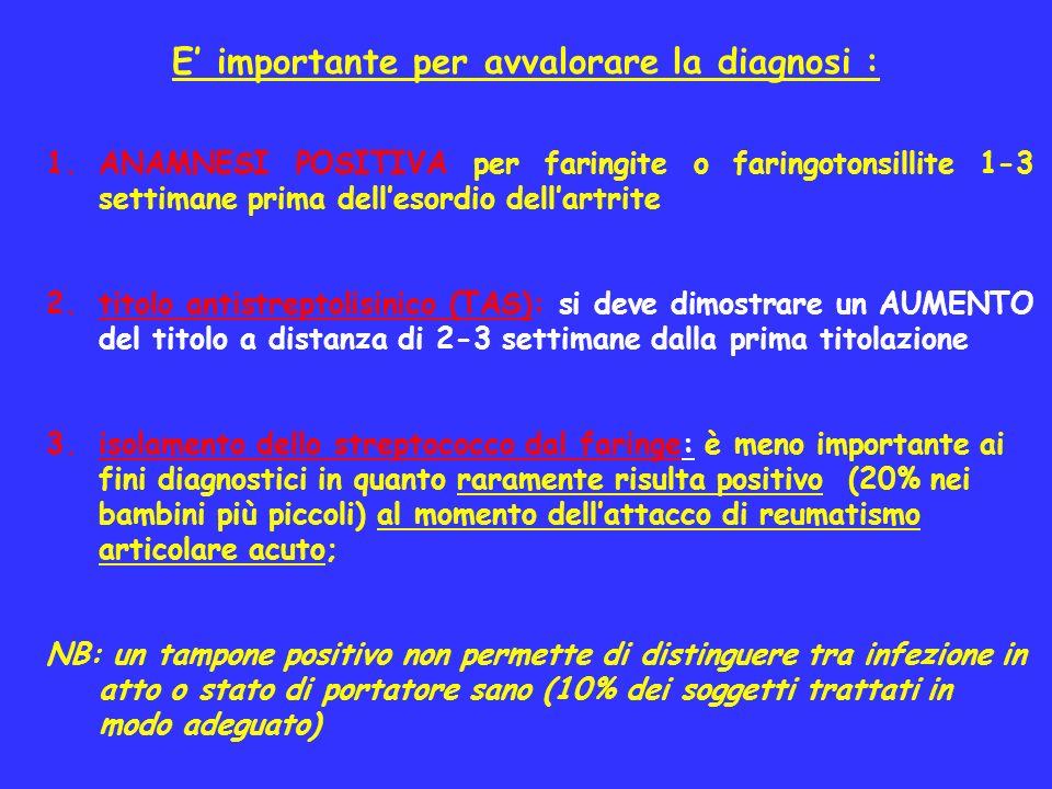 E importante per avvalorare la diagnosi : 1.ANAMNESI POSITIVA per faringite o faringotonsillite 1-3 settimane prima dellesordio dellartrite 2.titolo a
