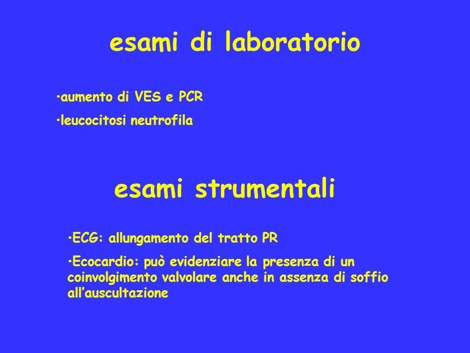 esami di laboratorio aumento di VES e PCR leucocitosi neutrofila ECG: allungamento del tratto PR Ecocardio: può evidenziare la presenza di un coinvolg