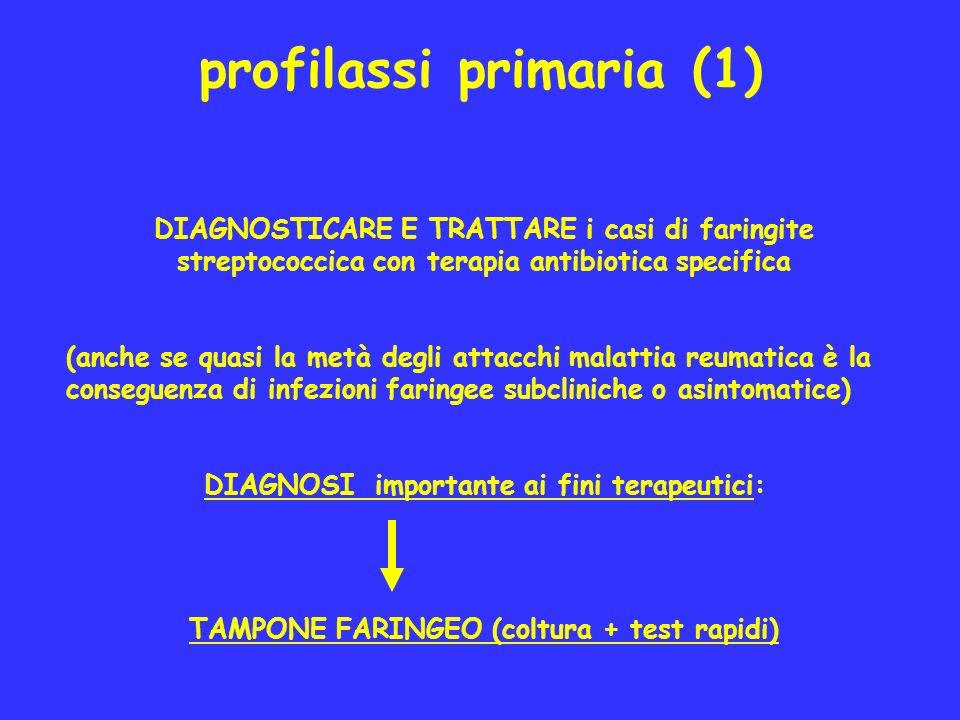 profilassi primaria (1) DIAGNOSTICARE E TRATTARE i casi di faringite streptococcica con terapia antibiotica specifica (anche se quasi la metà degli at