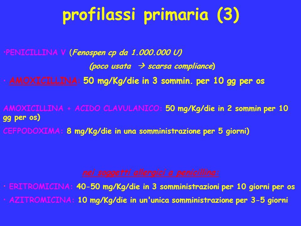 profilassi primaria (3) PENICILLINA V (Fenospen cp da 1.000.000 U) (poco usata scarsa compliance) AMOXICILLINA: 50 mg/Kg/die in 3 sommin. per 10 gg pe