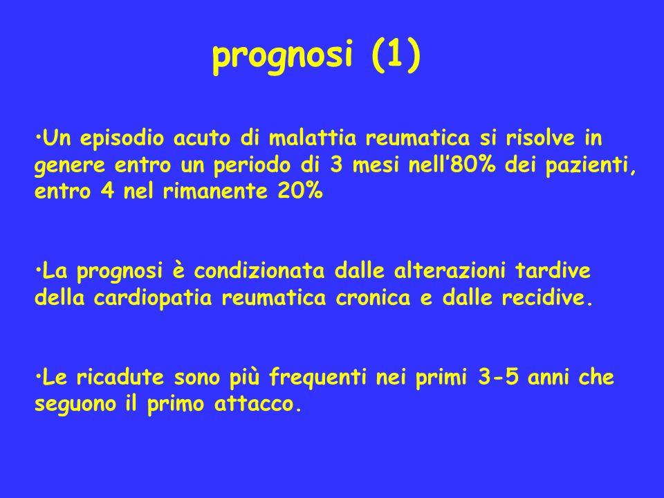 prognosi (1) Un episodio acuto di malattia reumatica si risolve in genere entro un periodo di 3 mesi nell80% dei pazienti, entro 4 nel rimanente 20% L