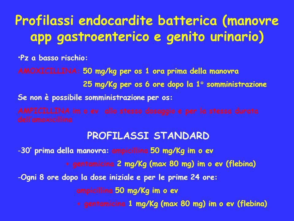 Profilassi endocardite batterica (manovre app gastroenterico e genito urinario) Pz a basso rischio: AMOXICILLINA: 50 mg/kg per os 1 ora prima della ma