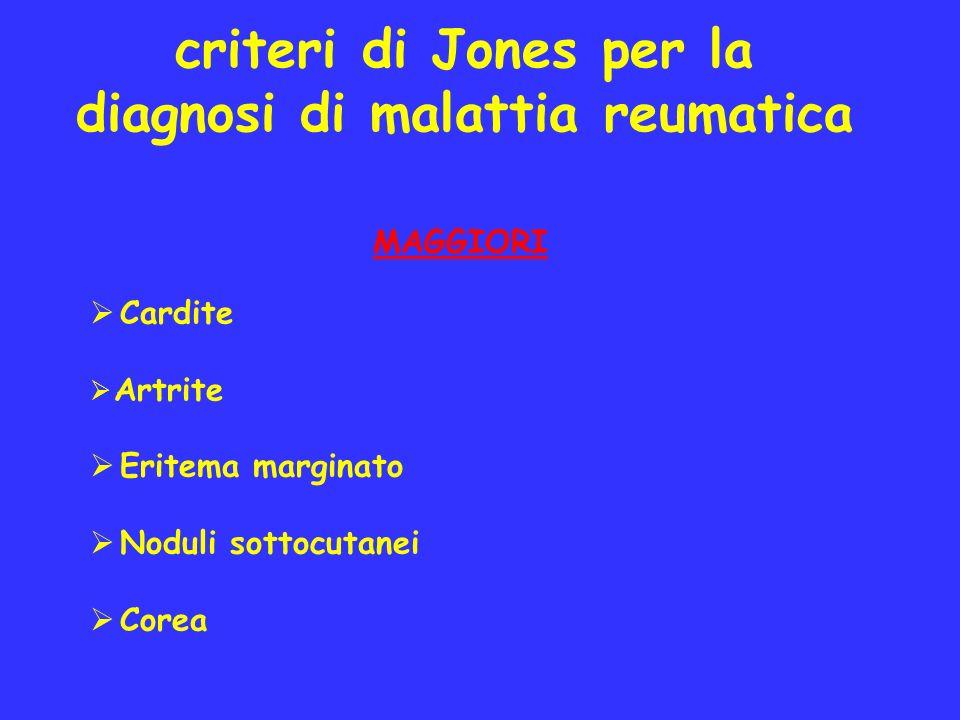 criteri di Jones per la diagnosi di malattia reumatica MAGGIORI Cardite Artrite Eritema marginato Noduli sottocutanei Corea