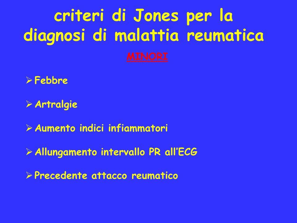criteri di Jones per la diagnosi di malattia reumatica MINORI Febbre Artralgie Aumento indici infiammatori Allungamento intervallo PR allECG Precedent