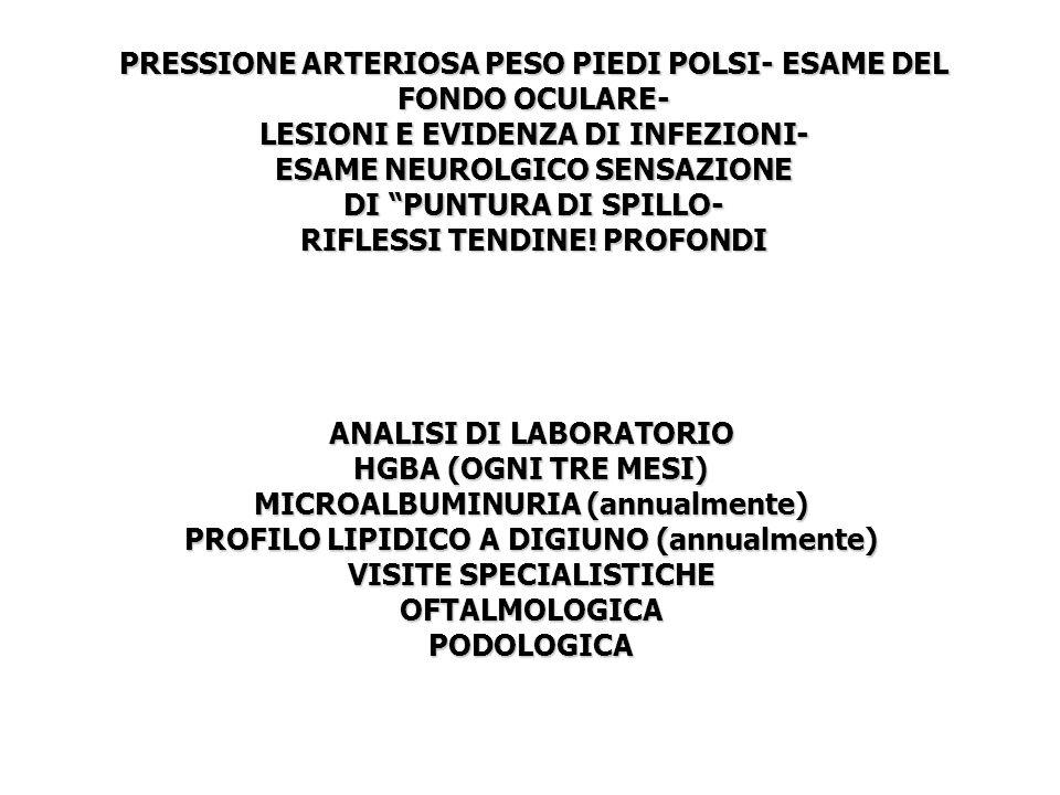 PRESSIONE ARTERIOSA PESO PIEDI POLSI- ESAME DEL FONDO OCULARE- LESIONI E EVIDENZA DI INFEZIONI- ESAME NEUROLGICO SENSAZIONE DI PUNTURA DI SPILLO- RIFL