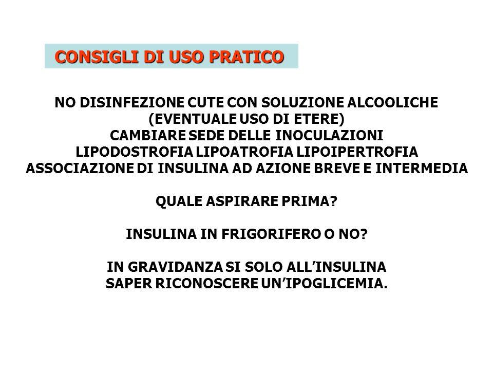 CONSIGLI DI USO PRATICO NO DISINFEZIONE CUTE CON SOLUZIONE ALCOOLICHE (EVENTUALE USO DI ETERE) CAMBIARE SEDE DELLE INOCULAZIONI LIPODOSTROFIA LIPOATRO