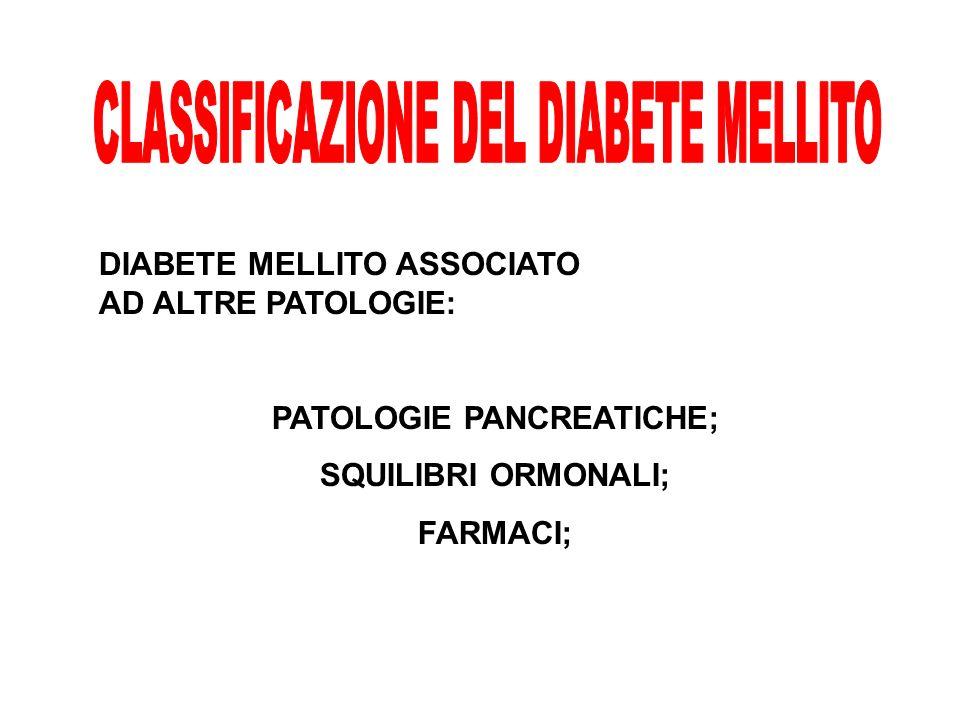 DIABETE MELLITO ASSOCIATO AD ALTRE PATOLOGIE: PATOLOGIE PANCREATICHE; SQUILIBRI ORMONALI; FARMACI;