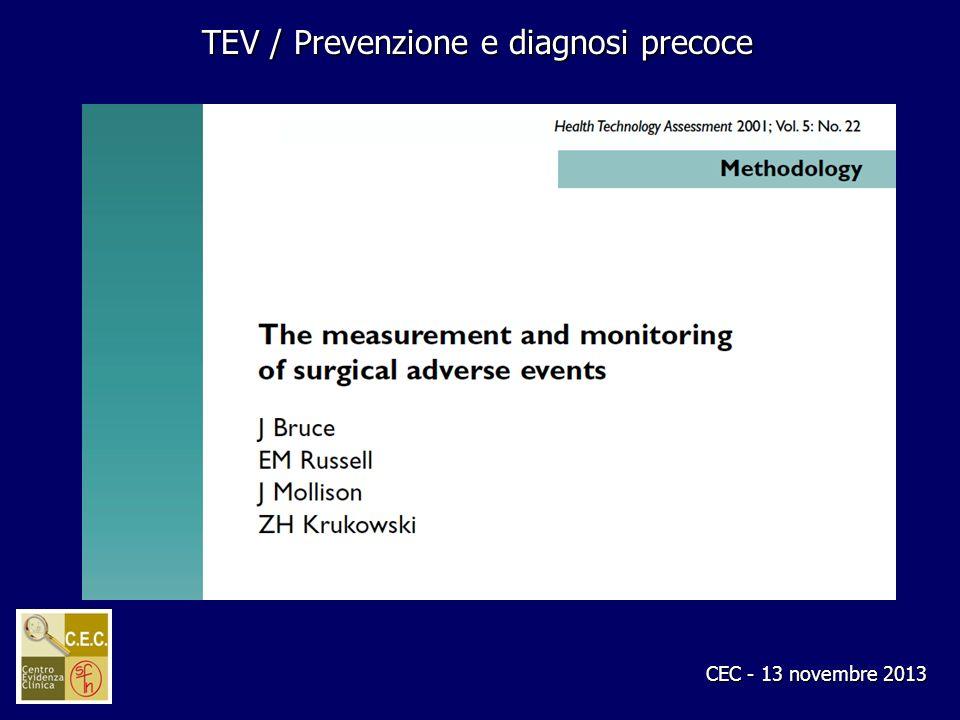 CEC - 13 novembre 2013 TEV / Prevenzione e diagnosi precoce