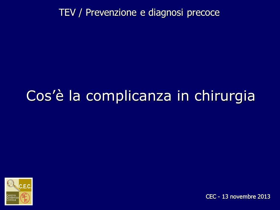 CEC - 13 novembre 2013 TEV / Prevenzione e diagnosi precoce Cosè la complicanza in chirurgia
