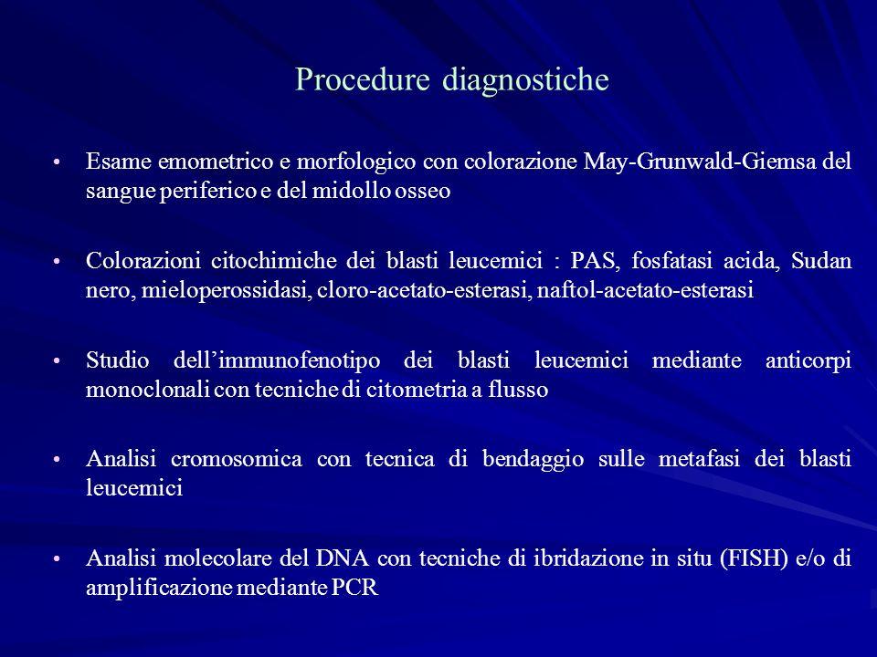 Procedure diagnostiche Esame emometrico e morfologico con colorazione May-Grunwald-Giemsa del sangue periferico e del midollo osseo Colorazioni citoch