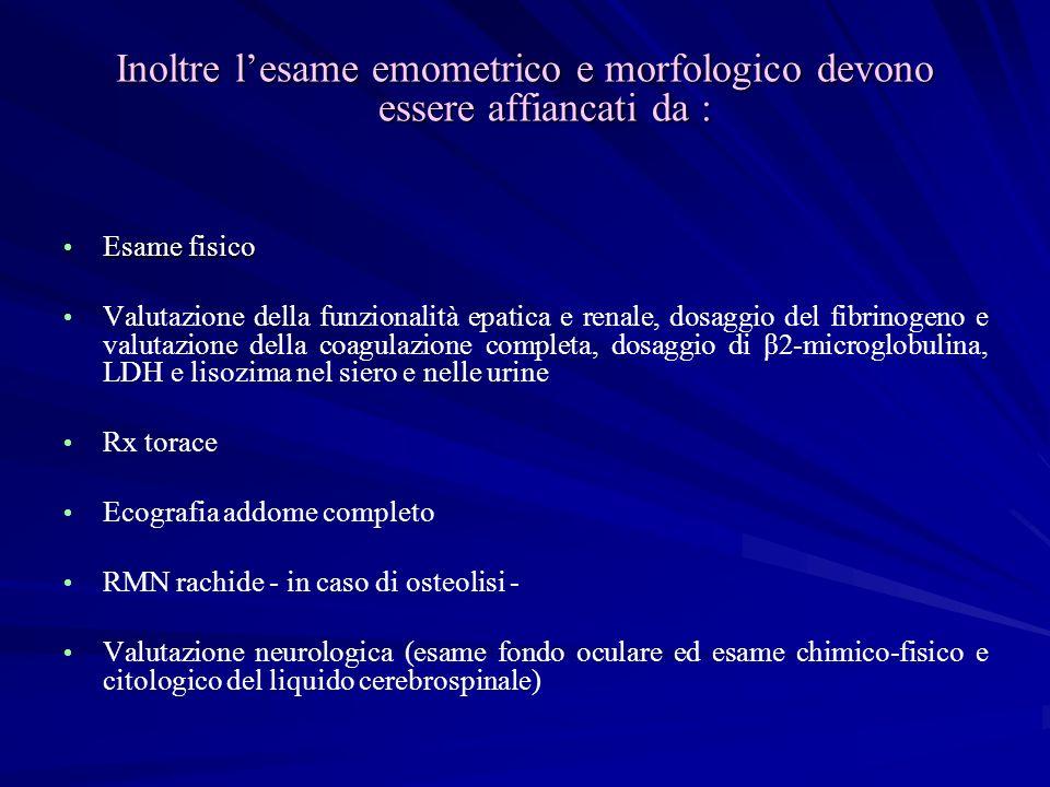 Inoltre lesame emometrico e morfologico devono essere affiancati da : Esame fisico Esame fisico Valutazione della funzionalità epatica e renale, dosag