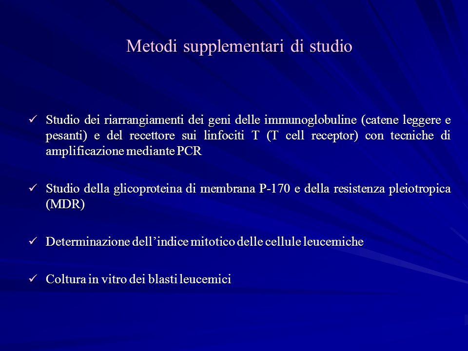 Metodi supplementari di studio Studio dei riarrangiamenti dei geni delle immunoglobuline (catene leggere e pesanti) e del recettore sui linfociti T (T