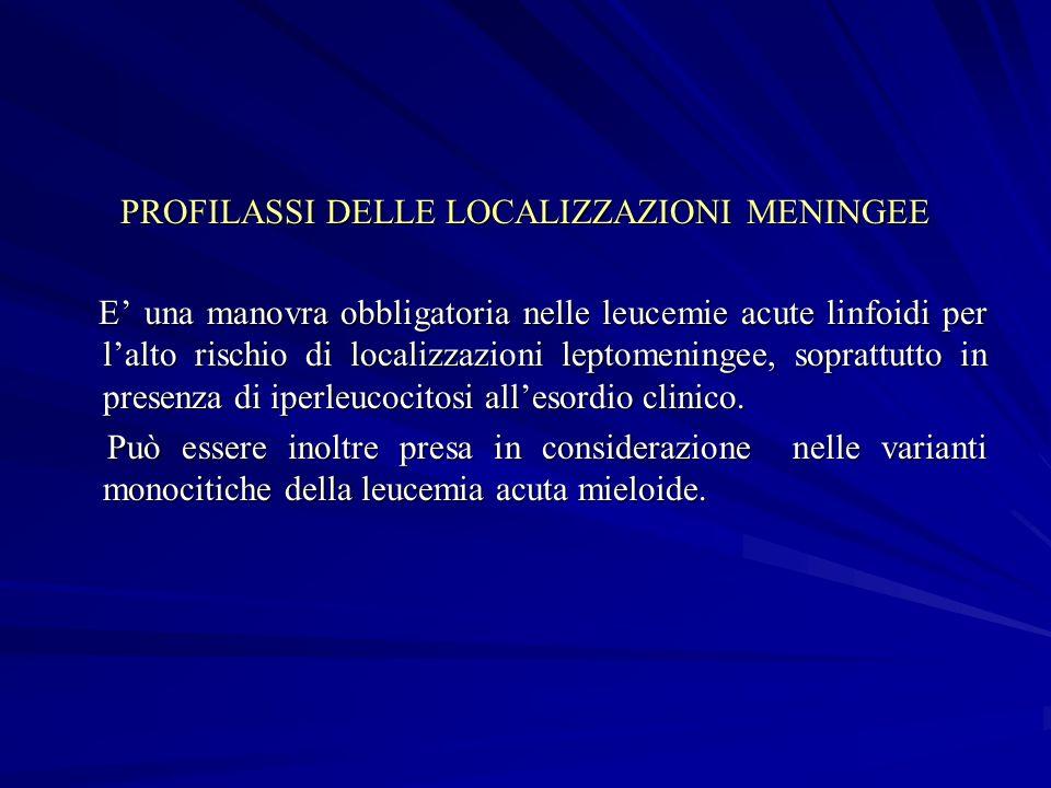 PROFILASSI DELLE LOCALIZZAZIONI MENINGEE E una manovra obbligatoria nelle leucemie acute linfoidi per lalto rischio di localizzazioni leptomeningee, s
