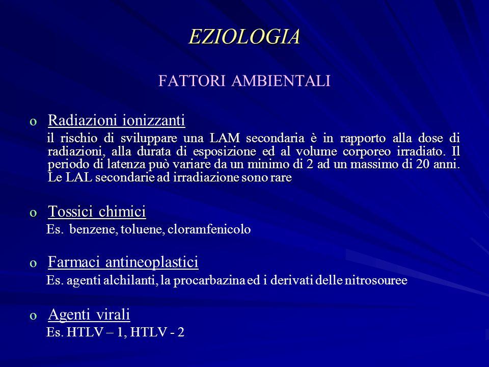 EZIOLOGIA FATTORI AMBIENTALI o o Radiazioni ionizzanti il rischio di sviluppare una LAM secondaria è in rapporto alla dose di radiazioni, alla durata