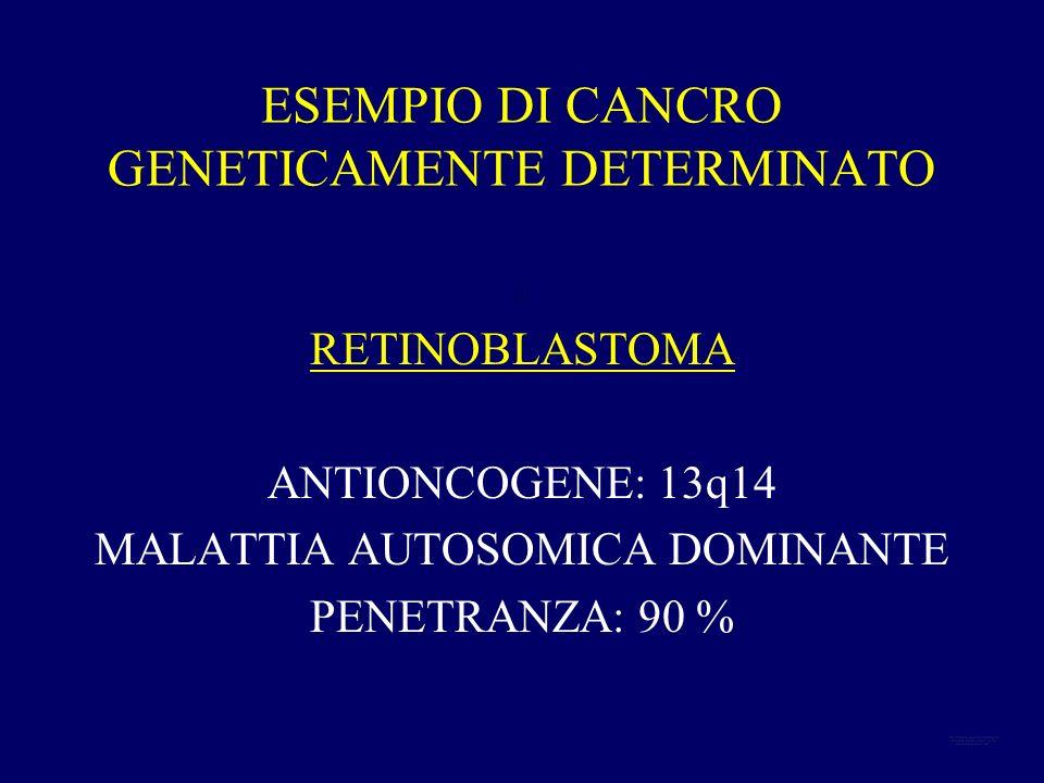 ESEMPIO DI CANCRO GENETICAMENTE DETERMINATO : RETINOBLASTOMA ANTIONCOGENE: 13q14 MALATTIA AUTOSOMICA DOMINANTE PENETRANZA: 90 %