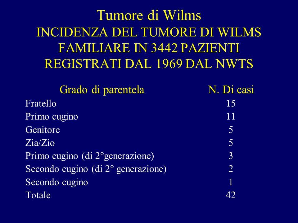 Tumore di Wilms INCIDENZA DEL TUMORE DI WILMS FAMILIARE IN 3442 PAZIENTI REGISTRATI DAL 1969 DAL NWTS Grado di parentela Fratello Primo cugino Genitor