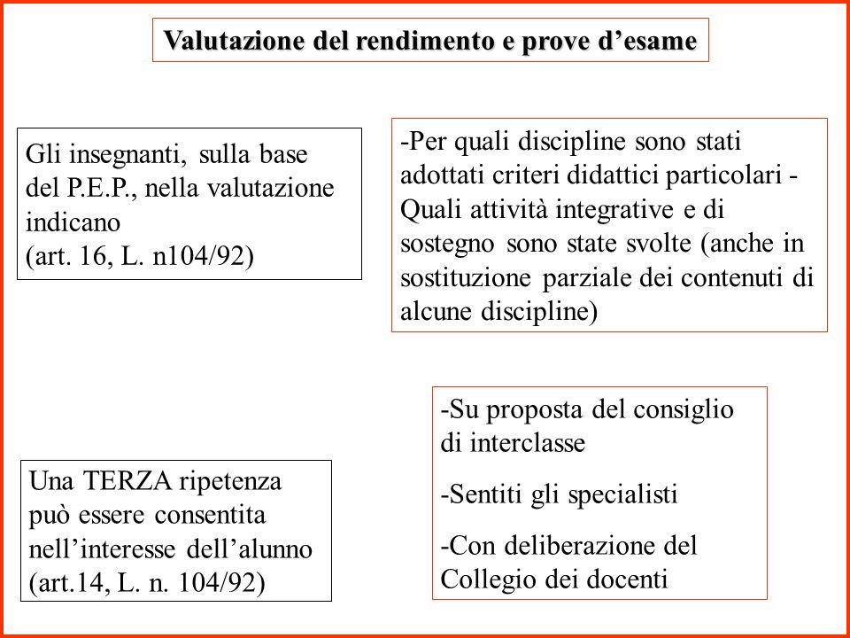 Valutazione del rendimento e prove desame Gli insegnanti, sulla base del P.E.P., nella valutazione indicano (art. 16, L. n104/92) -Per quali disciplin