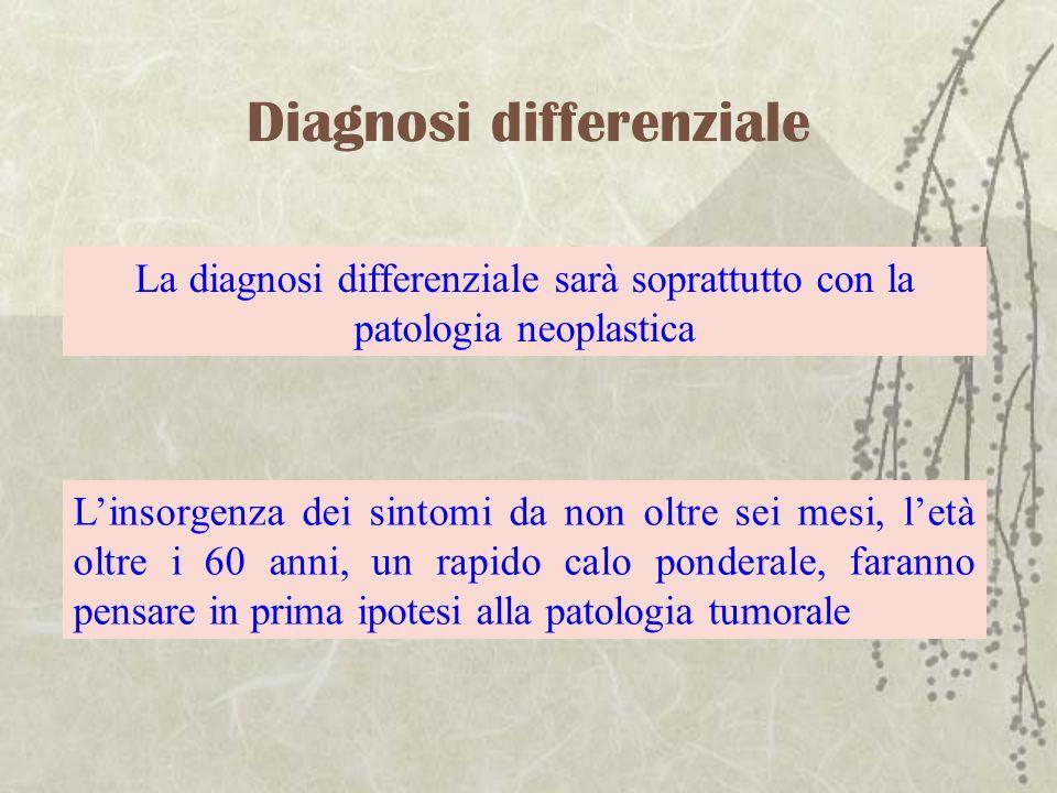 Diagnosi differenziale La diagnosi differenziale sarà soprattutto con la patologia neoplastica Linsorgenza dei sintomi da non oltre sei mesi, letà olt