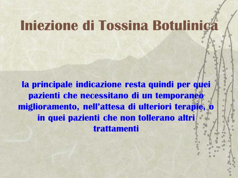 Iniezione di Tossina Botulinica la principale indicazione resta quindi per quei pazienti che necessitano di un temporaneo miglioramento, nellattesa di