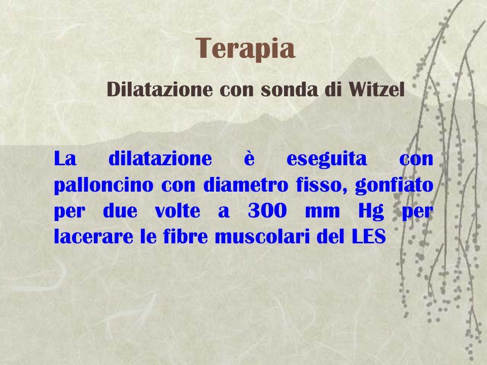 Terapia La dilatazione è eseguita con palloncino con diametro fisso, gonfiato per due volte a 300 mm Hg per lacerare le fibre muscolari del LES Dilata
