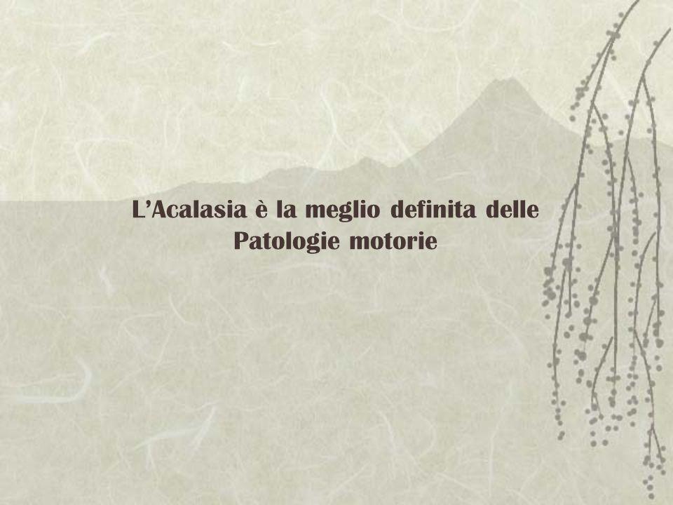 LAcalasia è la meglio definita delle Patologie motorie