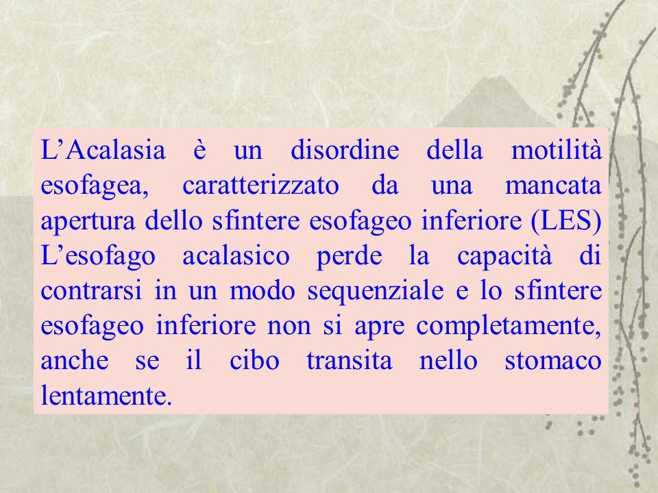 LAcalasia è un disordine della motilità esofagea, caratterizzato da una mancata apertura dello sfintere esofageo inferiore (LES) Lesofago acalasico pe