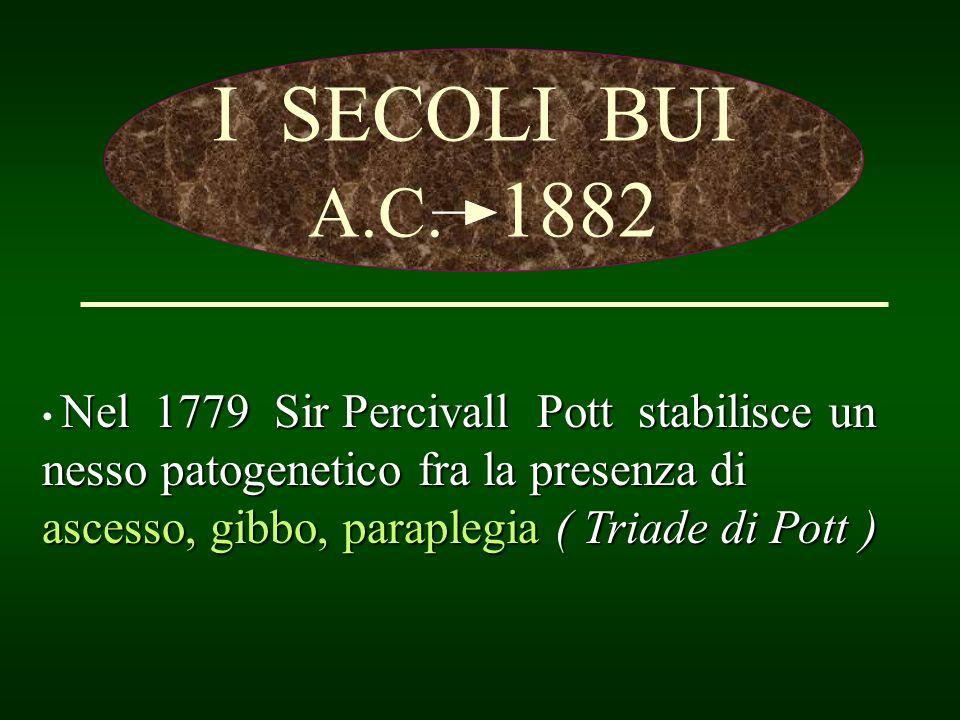 I SECOLI BUI A.C. 1882 Nel 1779 Sir Percivall Pott stabilisce un nesso patogenetico fra la presenza di ascesso, gibbo, paraplegia ( Triade di Pott )