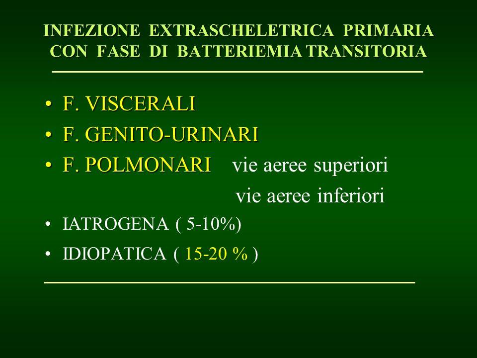 F. VISCERALIF. VISCERALI F. GENITO-URINARIF. GENITO-URINARI F. POLMONARIF. POLMONARI vie aeree superiori vie aeree inferiori IATROGENA ( 5-10%) IDIOPA