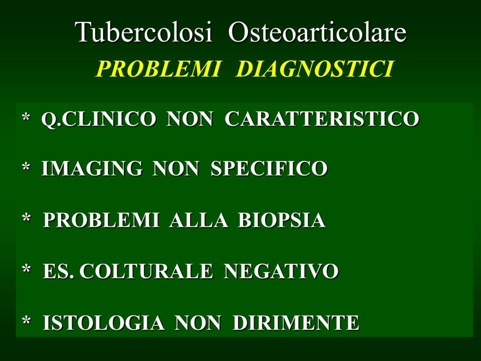 Bone and Joint Tuberculosis DIAGNOSIS PROBLEMS Tubercolosi Osteoarticolare Tubercolosi Osteoarticolare PROBLEMI DIAGNOSTICI * Q. CLINICO NON CARATTERI