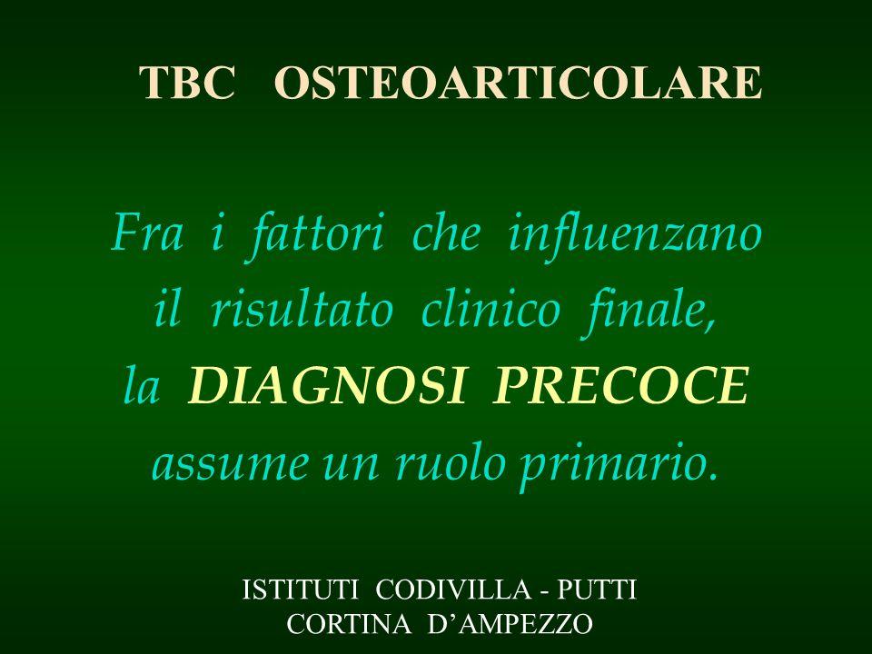 TBC OSTEOARTICOLARE Fra i fattori che influenzano il risultato clinico finale, la DIAGNOSI PRECOCE assume un ruolo primario. ISTITUTI CODIVILLA - PUTT