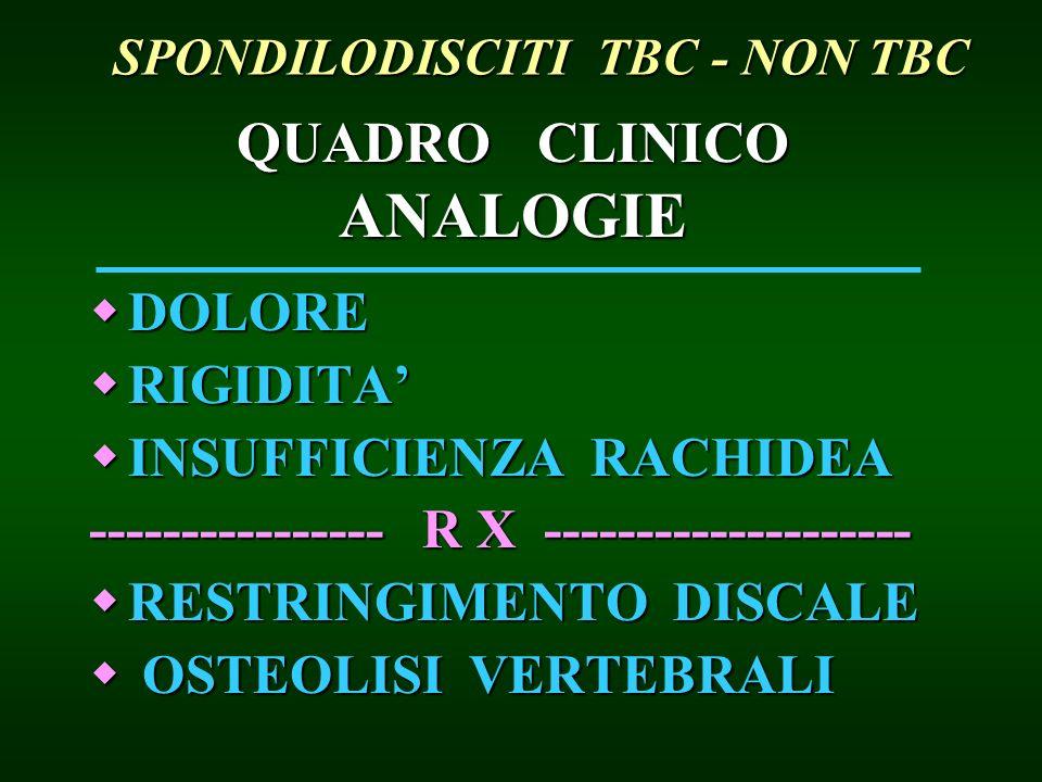 QUADRO CLINICO ANALOGIE DOLORE DOLORE RIGIDITA RIGIDITA INSUFFICIENZA RACHIDEA INSUFFICIENZA RACHIDEA ---------------- R X -------------------- RESTRI