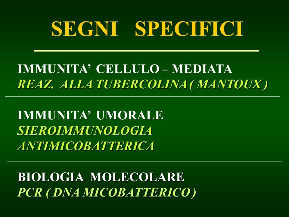 SEGNI SPECIFICI IMMUNITA CELLULO – MEDIATA REAZ. ALLA TUBERCOLINA ( MANTOUX ) IMMUNITA UMORALE SIEROIMMUNOLOGIA ANTIMICOBATTERICA BIOLOGIA MOLECOLARE