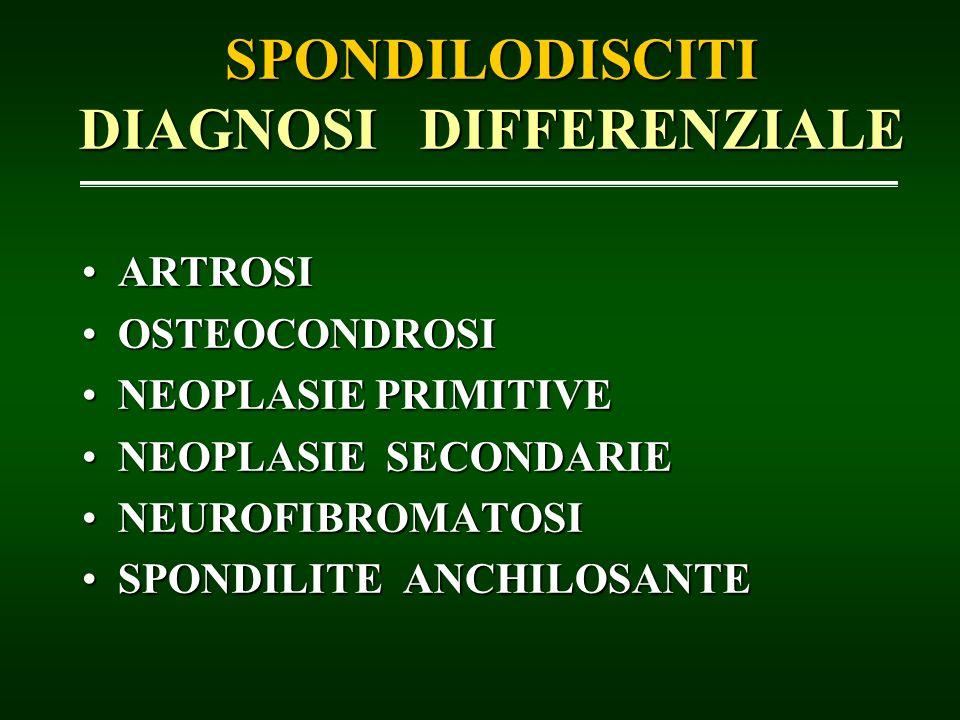 SPONDILODISCITI DIAGNOSI DIFFERENZIALE ARTROSIARTROSI OSTEOCONDROSIOSTEOCONDROSI NEOPLASIE PRIMITIVENEOPLASIE PRIMITIVE NEOPLASIE SECONDARIENEOPLASIE