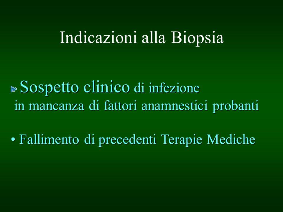 Indicazioni alla Biopsia Sospetto clinico di infezione in mancanza di fattori anamnestici probanti in mancanza di fattori anamnestici probanti Fallime