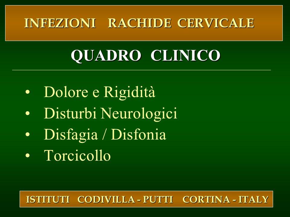 Dolore e Rigidità Disturbi Neurologici Disfagia / Disfonia Torcicollo ISTITUTI CODIVILLA - PUTTI CORTINA - ITALY INFEZIONI RACHIDE CERVICALE INFEZIONI