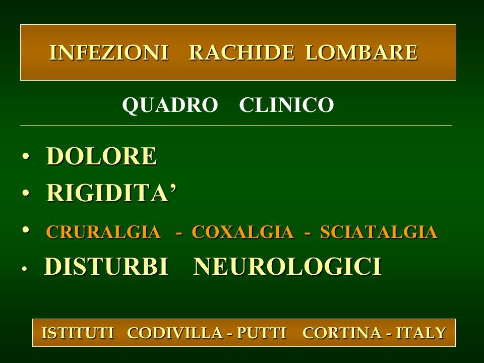 DOLORE DOLORE RIGIDITA RIGIDITA CRURALGIA - COXALGIA - SCIATALGIA CRURALGIA - COXALGIA - SCIATALGIA DISTURBI NEUROLOGICI DISTURBI NEUROLOGICI ISTITUTI
