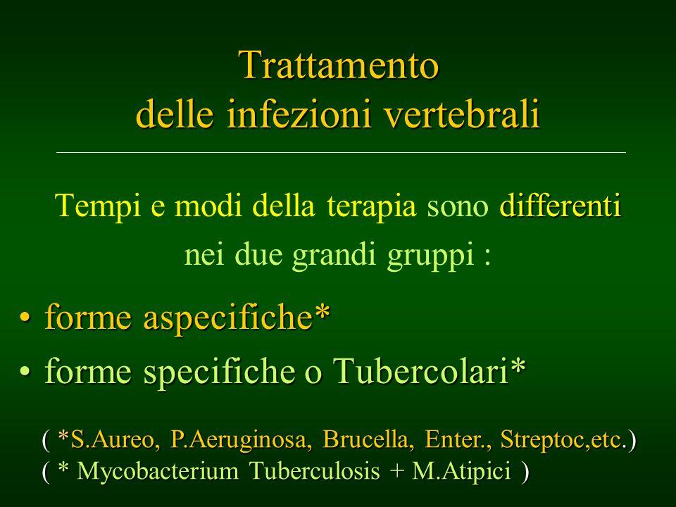 Trattamento delle infezioni vertebrali differenti Tempi e modi della terapia sono differenti nei due grandi gruppi : forme aspecifiche*forme aspecific
