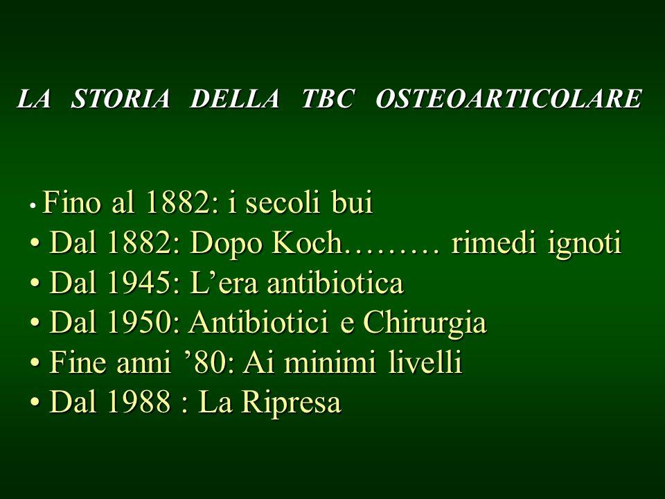 LA STORIA DELLA TBC OSTEOARTICOLARE Fino al 1882: i secoli bui Dal 1882: Dopo Koch……… rimedi ignoti Dal 1882: Dopo Koch……… rimedi ignoti Dal 1945: Ler