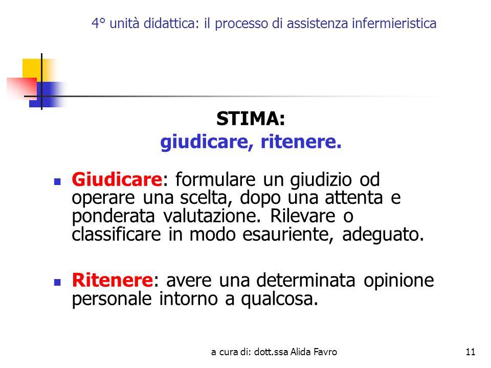a cura di: dott.ssa Alida Favro11 4° unità didattica: il processo di assistenza infermieristica STIMA: giudicare, ritenere.