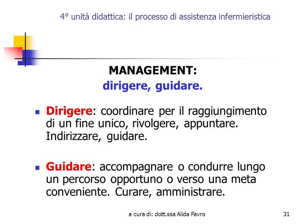 a cura di: dott.ssa Alida Favro31 4° unità didattica: il processo di assistenza infermieristica MANAGEMENT: dirigere, guidare.