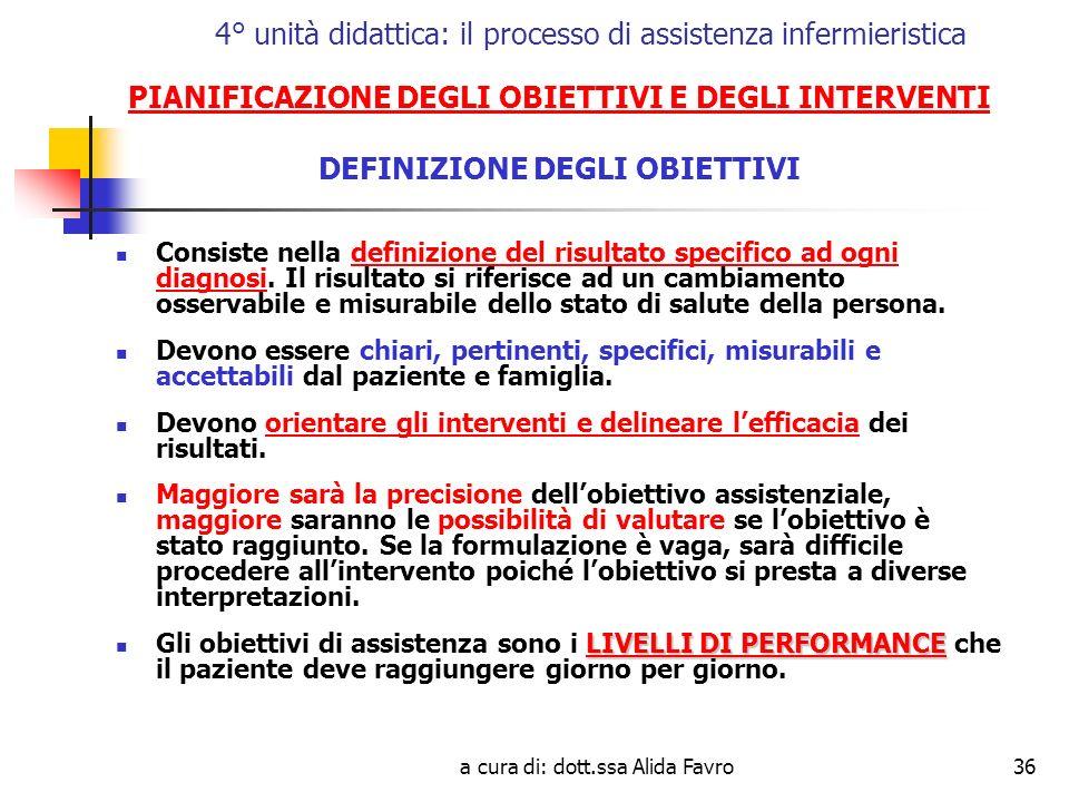 a cura di: dott.ssa Alida Favro36 4° unità didattica: il processo di assistenza infermieristica PIANIFICAZIONE DEGLI OBIETTIVI E DEGLI INTERVENTI DEFINIZIONE DEGLI OBIETTIVI Consiste nella definizione del risultato specifico ad ogni diagnosi.