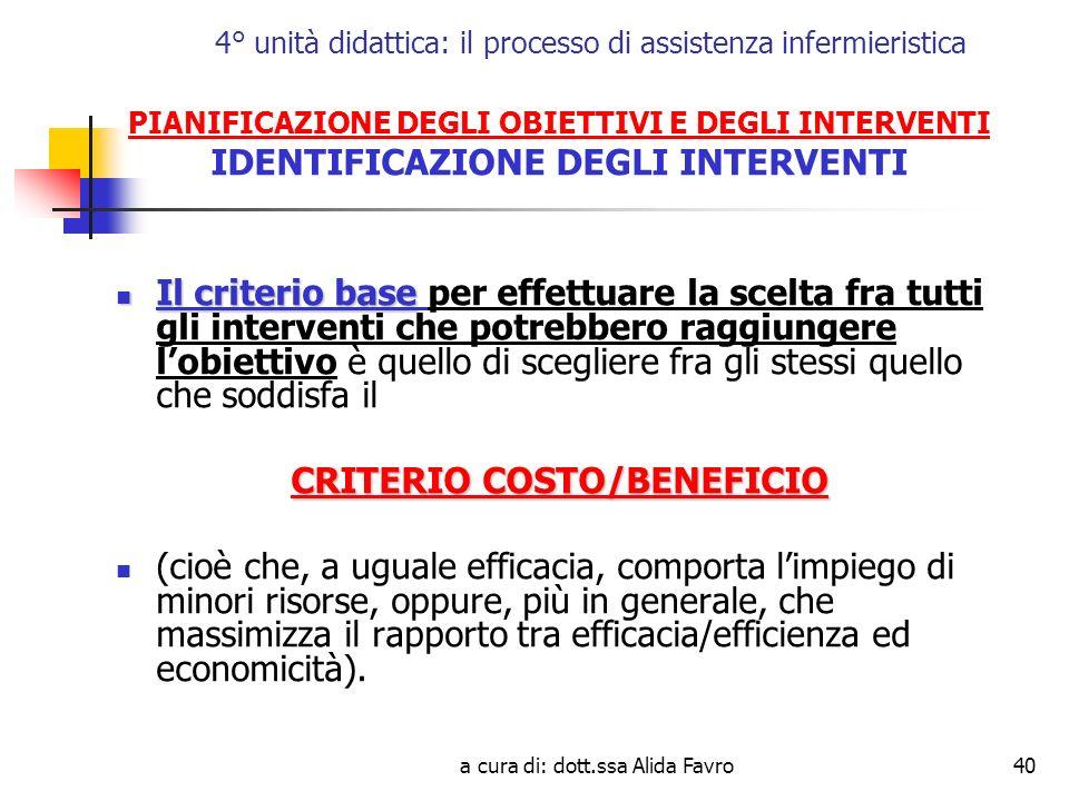 a cura di: dott.ssa Alida Favro40 4° unità didattica: il processo di assistenza infermieristica PIANIFICAZIONE DEGLI OBIETTIVI E DEGLI INTERVENTI IDENTIFICAZIONE DEGLI INTERVENTI Il criterio base Il criterio base per effettuare la scelta fra tutti gli interventi che potrebbero raggiungere lobiettivo è quello di scegliere fra gli stessi quello che soddisfa il CRITERIO COSTO/BENEFICIO (cioè che, a uguale efficacia, comporta limpiego di minori risorse, oppure, più in generale, che massimizza il rapporto tra efficacia/efficienza ed economicità).
