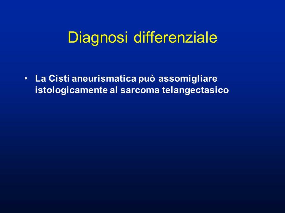 La Cisti aneurismatica può assomigliare istologicamente al sarcoma telangectasico Diagnosi differenziale