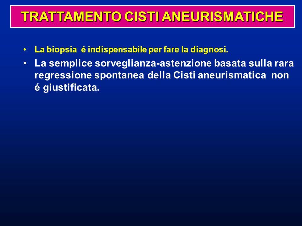 La biopsia é indispensabile per fare la diagnosi. La semplice sorveglianza-astenzione basata sulla rara regressione spontanea della Cisti aneurismatic