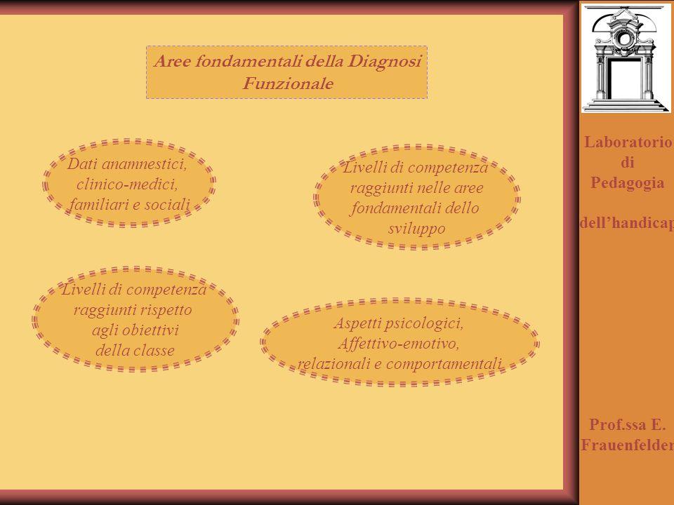 Laboratorio di Pedagogia dellhandicap Prof.ssa E. Frauenfelder Aree fondamentali della Diagnosi Funzionale Dati anamnestici, clinico-medici, familiari