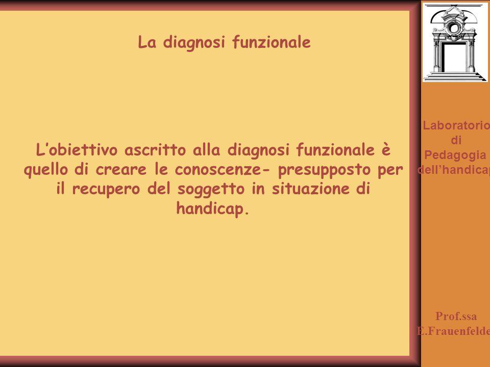 Laboratorio di Pedagogia dellhandicap Prof.ssa E.Frauenfelder Lobiettivo ascritto alla diagnosi funzionale è quello di creare le conoscenze- presupposto per il recupero del soggetto in situazione di handicap.
