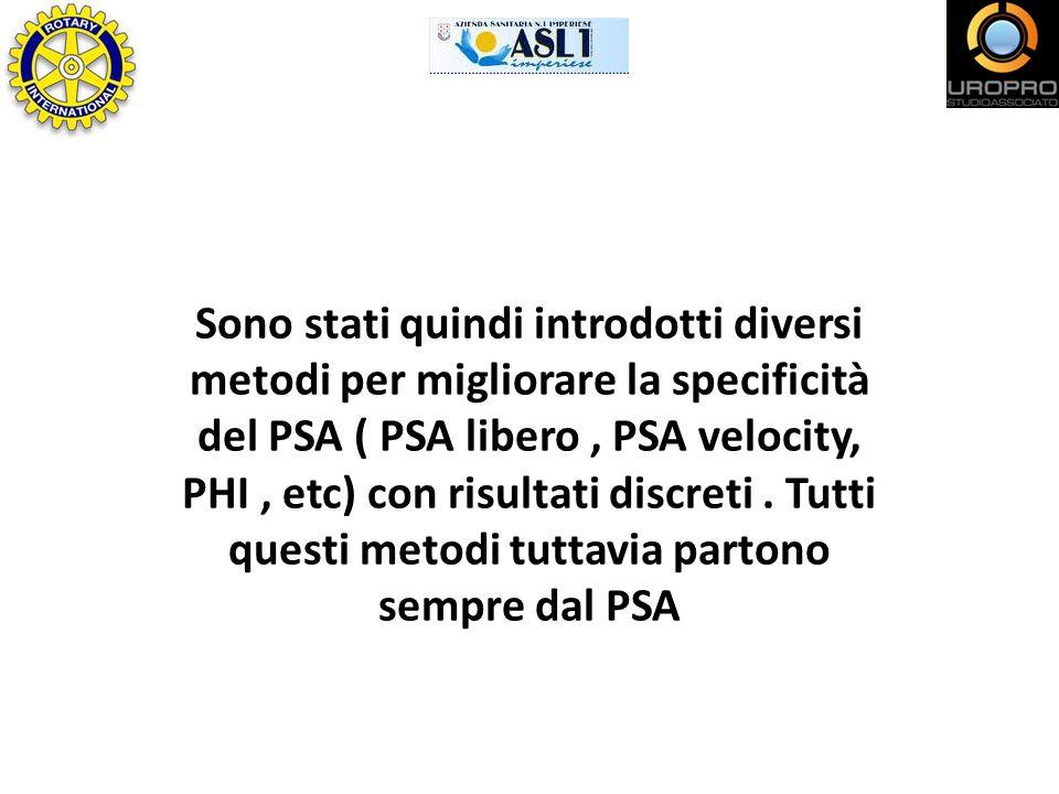 Sono stati quindi introdotti diversi metodi per migliorare la specificità del PSA ( PSA libero, PSA velocity, PHI, etc) con risultati discreti. Tutti